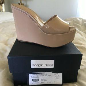 Sergio Rossi Patent Nude Sandals